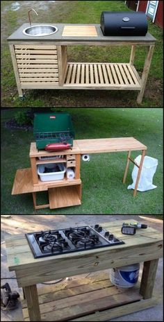 You Don't Need an Expensive Full Size Outdoor Kitchen. It Just Has to be Functional and Practical : You Don't Need an Expensive Full Size Outdoor Kitchen. It Just Has to be Functional and Practical Outdoor Grill, Outdoor Cooking Area, Backyard Kitchen, Outdoor Kitchen Design, Outdoor Kitchens, Simple Outdoor Kitchen, Outdoor Stove, Camping Kitchen, Country Kitchens