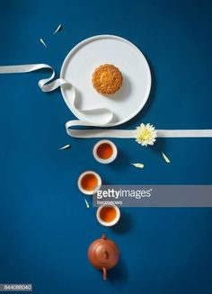 Flat lay mid autumn festival food and drink table top shot on rustic. Flat lay conceptual mid-autumn festival food and drink still life. Food Design, Design Design, Graphic Design, Food Photography Styling, Food Styling, Food Flatlay, Mid Autumn Festival, Moon Cake, Festival Posters