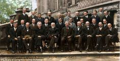 Even the leaves in the gutter have been colored in this group picture of some of the world's greatest minds, from Marie Curie to Einstein, at the 1927 Solvay Conference.  Colorized by Sanna Dullaway.