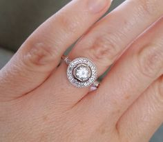 All White Topaz Versoin Halo Antique Engagement Ring Victorian
