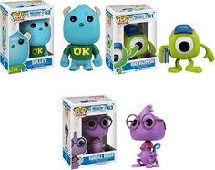 Monsters University Disney Pop! SET OF 3: Mike Wazowski, Sulley , & Randall Boggs http://popvinyl.net #funko #funkopop #popvinyl