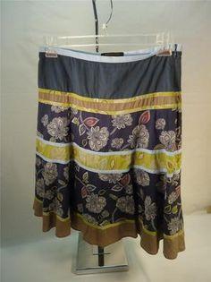 BCBG Max Azria Tiered SKIRT Size 6 Cotton Asphalt Gray Green Brown Peasant Boho