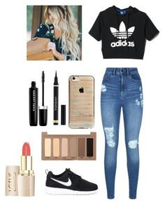 """Inspired by Loren Beech"" by delilah-xo ❤ liked on Polyvore featuring Lipsy, adidas, Urban Decay, NIKE, Agent 18, Yves Saint Laurent and Marc Jacobs"
