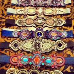Dopodomani style soutache Soutache Bracelet, Soutache Jewelry, Bead Jewellery, Beaded Jewelry, Handmade Jewelry, Fiber Art Jewelry, Mixed Media Jewelry, Jewelry Art, Jewelry Design