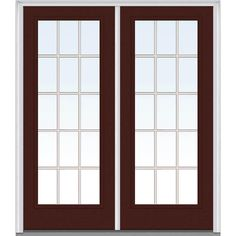 Milliken Millwork 62 in. x 81.75 in. Classic Clear Glass GBG Full Lite Painted Majestic Steel Exterior Double Door, Redwood