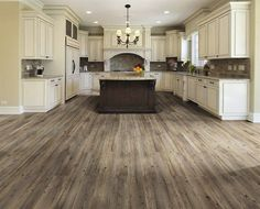 Grey wood flooring. Would love this with darker base cabinets.