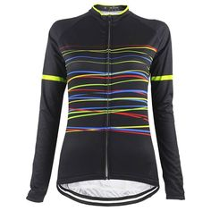 Black Colorful Small Lines Women Cycling Jersey Women's Cycling Jersey, Cycling Wear, Bike Wear, Cycling Jerseys, Lightin The Box, Female Cyclist, Uniform Design, Color Lines, Sport Outfits