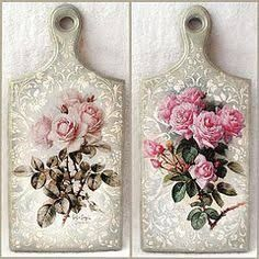 """Discover thousands of images about Cutting board with decoupage """"Roses """" Decoupage Vintage, Napkin Decoupage, Decoupage Paper, Decoupage Ideas, Crafts To Make, Arts And Crafts, Diy Crafts, Decoupage Furniture, Diy Cutting Board"""