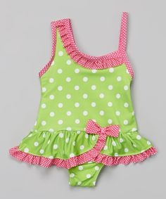 This Lime Green & Pink Polka Dot Skirted One-Piece - Infant by Story Book Wishes is perfect! #zulilyfinds