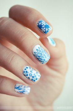 ongle   Porcelaine: #mani #pedi #nails #nails #manicure #pedicure #porcelain #blue #white