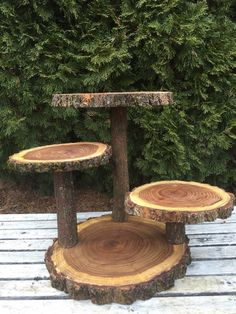 Large Log Elm Wood Rustic Cake 65 Cupcake Collapsible Stand Wedding party shower wooden, donut, lumberjack party, boho, wild things are Wooden Cake Stands, Wood Cake, Cupcake Stand Wedding, Cake And Cupcake Stand, Glam Look, Cake Holder, Lumberjack Party, Rustic Cake, Wood Projects