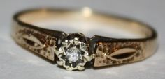 Vintage Diamond 9ct Gold Ring by fairytaletreasures on Etsy, $150.00