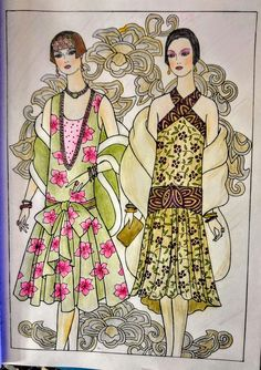 Joan Bosotina colorist ART DECO FASHIONS COLORING BOOK