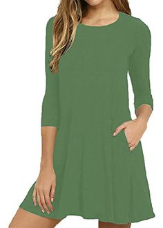 d8293153933 Mippo Women s Plain Simple Round Neck 3 4   Long Sleeve A-line Casual Loose  Swing T Shirt Dress Pocket Size S-XXL