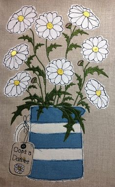 Raw Edge Applique Design 'Oops a Daisies' Freehand Machine Embroidery, Free Motion Embroidery, Free Machine Embroidery, Free Motion Quilting, Machine Quilting, Applique Patterns, Applique Quilts, Applique Designs, Embroidery Applique