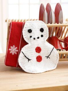 Snowman Dishcloth | Yarn | Free Knitting Patterns | Crochet Patterns | Yarnspirations