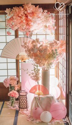 Japanese Wedding Theme - Based on your venue agreement, there could be a few constraints with regards to the sort of decor it is possible to generate or Asian Party Decorations, Wedding Decorations, Table Decorations, Japanese Theme Parties, Cherry Blossom Party, Japanese Birthday, Debut Ideas, Japanese Wedding, Deco Design