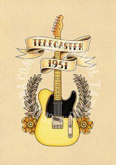 T18. TELECASTER 1951. guitar ribbon roses. Flash por Retrocrix