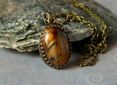 Tiger Eye Pendant Brown Small Tiger Eye Necklace Antique Brass Bezel Gemstone Tiger Eye Jewelry by MsBsDesigns on Etsy