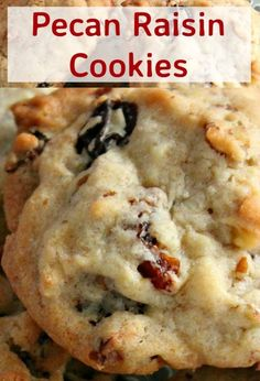 Delicious easy cookies perfect with a glass of milk or cup of tea! Also great Pecan Raisin Cookies. Delicious easy cookies perfect with a glass of milk or cup of tea! Also great for gifts! Pecan Cookies, Raisin Cookies, Pumpkin Cookies, Yummy Cookies, Fruit Cookies, Pecan Cookie Recipes, Raisin Recipes, Quick Cookies, Coffee Cookies