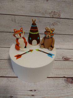 Fondant Tribal Woodland Cake Toppers Fondant Bear Fox | Etsy Woodland Cake, Woodland Theme, Woodland Party, Tribal Fox, Fondant Animals, Fondant Cake Toppers, Freeze, Birthdays, Christmas Ornaments