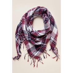 Berkeley Plaid Tassel Scarf ($28) ❤ liked on Polyvore featuring accessories, scarves, plaid shawl, red plaid shawl, tassel scarves, tartan shawl and red scarves