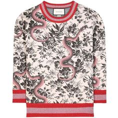 Printed sweater (€980) ❤ liked on Polyvore featuring tops, sweaters, sports sweaters, floral sweater, sports tops, floral top and snake sweater