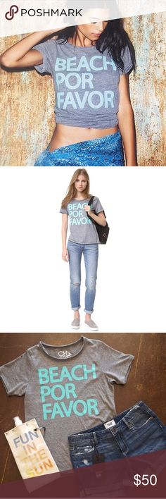 """NWT Chaser """"Beach Por Favor"""" NWT. Size XS Bright 'Beach Por Favor' lettering accents this slouchy Chaser tee. Raw, rolled edges. Short sleeves.  Fabric: Jersey. 50% polyester/38% cotton/12% rayon. Wash cold.   Measurements Length: 24"""" from shoulder Chaser Tops Tees - Short Sleeve"""