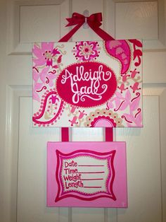 Birth announcement door hanger on Etsy, $45.00