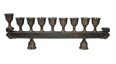 Copper Hanukah Menorah Intricate Design