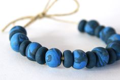 Handmade Polymer Clay Beads  Blue Swirl  7mm by OneUrbanTribe, $9.50