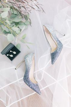 Blue sparkly wedding shoes - blue heels for bride {Studio OPiA}