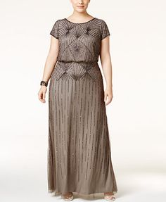 Adrianna Papell Plus Size Beaded Blouson Gown | macys.com