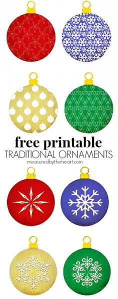 Free Printable Christmas Ornaments by Measured by the Heart