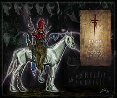 Four Horsemen: Death by hexxxer on DeviantArt Horsemen Of The Apocalypse, Death, Darth Vader, Horses, Deviantart, Fictional Characters, Fantasy Characters, Horse