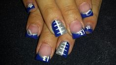 Football nails ... I can see this in Cavalier Red & Blue :)