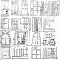 Thats how far I got last night. Needs colour so expect colour rich Hello Friday. Off to soak up some sun rays. Doodle Drawings, Doodle Art, Easy Drawings, Window Drawings, Drawing For Kids, Line Drawing, House Illustration, Illustrations, House Doodle