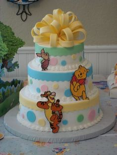 Winnie the pooh baby shower cake.  First attempt at the fondant/gumpaste loop bow and I made the characters out of royal icing.  Inspiration from both tinabee and dawnbakescakes here on CC.  I had no idea (someone else bought the decorations), but the polka dots matched the decorations perfectly!