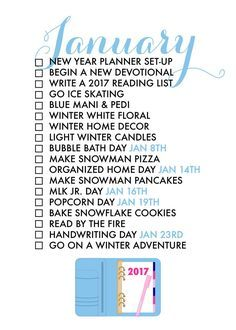 January 2017 Seasonal Life List ~Paper & Glam
