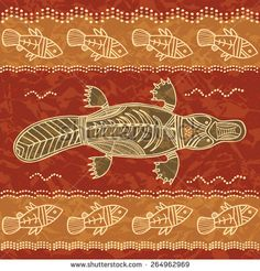 Platypus and fish; a tribal pattern in an australian aborigine style - stock vector Aboriginal Art Australian, Indigenous Australian Art, Indigenous Art, Australian Tattoo, Australian Painting, Aboriginal Tattoo, Kunst Der Aborigines, Tribal Animals, Surrealism Painting