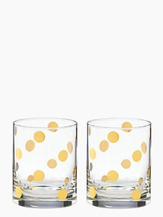 everything's better with a smattering of gold polka dots. It may as well be our life's mantra, but it particularly applies to this cheery highball glass set (equally lovely for lemonade on the lawn or festive cocktails when the sun goes down).