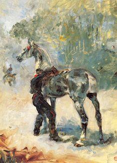 Artilleryman Saddling His Horse - Henri de Toulouse-Lautrec