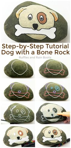 Learn how to paint this fun dog rock painting idea for beginners. Follow the step-by-step tutorial to make an adorable puppy rock. #pinitforlater #rockpainting #howtodraw #dogrockpainting #posca #uniposca #howtopaint #rockpaintingtutorial #rufflesandrainboots via @momtoelise