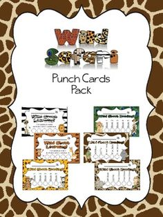 Wild Safari punch cards to use for reading incentives or other classroom behavior management.  Included are 3 sets of 10 different colored punch cards (so you can change colors each month) with spots for 5 books or other items. The sets come in multicolored as well as 8 of the same color. After completing a task or reading each item, students get their card punched with a hole punch or you can initial each circle. Once the card is complete, the card can be redeemed for a small prize. $ on…