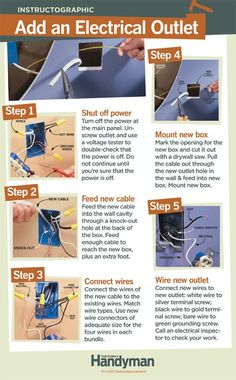 Add an Electrical Outlet - grill home DIY Tutorial: How to Add an Electrical Outlet. If you already have an outlet in the other side of the wall, you can add another one quickly & easily without tearing open a wall. Home Electrical Wiring, Electrical Projects, Electrical Outlets, Add Electrical Outlet, Home Improvement Loans, Home Improvement Projects, Gay Couple, Gay Pride, Home Fix