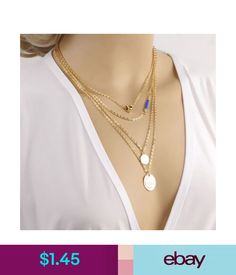 4c2e9818c75387 Necklaces   Pendants 2015 Celebrity Gold Initial Lariat Multi Layer  Necklace Heart Geometry Jewelry  ebay  Fashion
