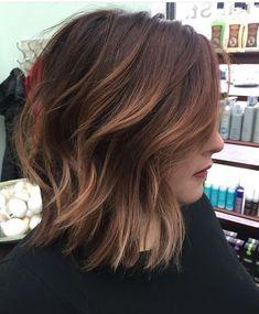 Mahogany hair with caramel highlights