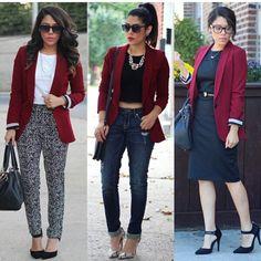 ¿Qué me pongo con un blazer vinotinto? El azul oscuro es una de nuestras combinaciones recomendadas. aspeqtto.com
