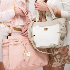 Sometimes you want to make a statement with your bag. The Baden for Demi or Catalina for Prima are a great way to do this. Bright gold studs, a light pink color and elegant taupe details truly make these bags beautiful accessories for every outfit.  http://mollymccollum.miche.com/ #Miche
