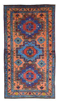 Semi Antique Persian Kazak Rug 4'3X7'7